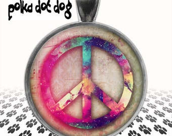 Peace, Baby -- Vintage-Style Peace Symbol Large Glass-Covered Pendant