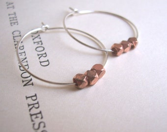 Rose Gold and Silver mixed metal hoop earrings - little faceted beads - minimalist