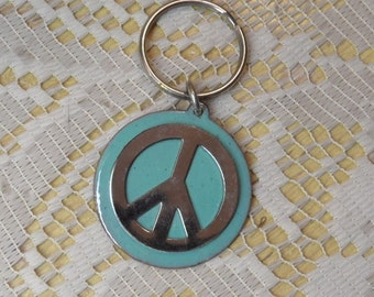 Copper Enamel key ring / peace sign robin egg blue