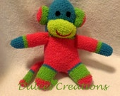 Sock monkey ready to ship pink green teal blue