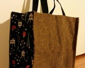 Sturdy grocery bag with art side fabric