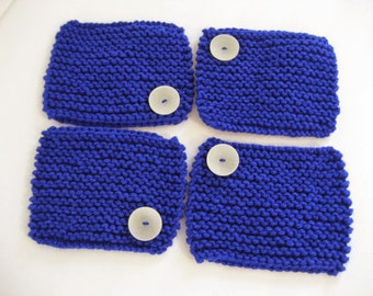 CLEARANCE SALE 4 Hand Knit Coasters, Bright Blue, Handmade with Vegan Friendly Yarn and White Buttons, Large Mug Rugs Drink Coffee Tea Tray