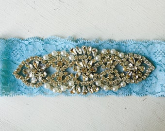 Wedding Garter Lace Vintage Inspired Bridal Garter Something Blue