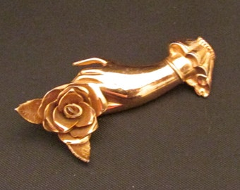 Coro Brooch Gold Tone Hand Holding Rose True Vintage