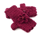 Wine II Crochet Fingerless Gloves with Flower