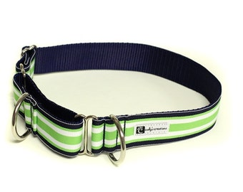 Wide 1 1/2 inch Adjustable Buckle or Martingale Dog Collar in Preppy Green and Navy Stripe