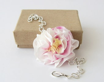 Silk flower girl bracelet, hand dyed pink and white silk flower jewelry, bridesmaid gift, botanical bracelet
