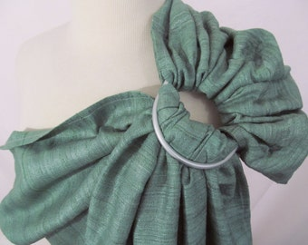 Double Layer Silk Tussah Blend Ring Sling Baby Carrier - Spring Green - DVD included - Gathered Shoulder