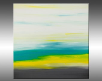 Sunrise 29 - Original Abstract Painting, Contemporary Modern, Acrylic on Canvas Wall Art Modern Art Paintings, Yellow Turquoise Gray