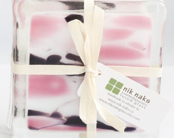 Fused glass coasters. Pink coasters. Glass coasters. Drink coasters. Gifts under 50. Wedding coasters. Handmade coasters. Housewarming gift.