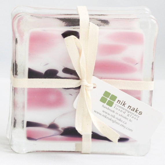 fused glass coasters. pink, purple, white glass coasters. set of 4.