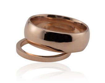 Rose Gold Wedding Band, 14k Rose Gold His and Hers Wedding Bands - comfort fit - LS1249