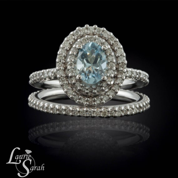 Aquamarine Engagement Ring, Aquamarine and Diamond Double Halo Wedding Set - Full Eternity Bands - LS1685