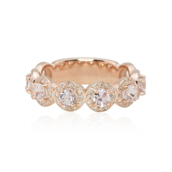 Rose Gold Wedding Band Light Pink Sapphire Ring Diamond Halo