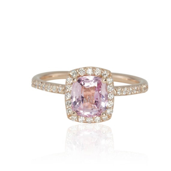 Pink Sapphire Ring with Diamond Halo, Morganite Colored Sapphire Engagement Ring - LS2205