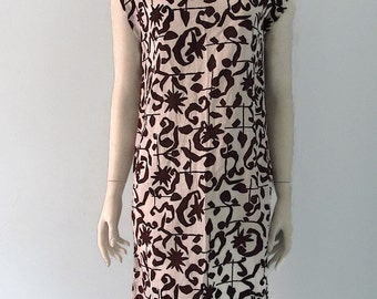 Vintage 80s abstract black and white cotton sack dress cap sleeve s m