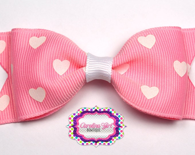 """Pink with White Hearts Bow ~ 3.5"""" Bow ~ No Slip ~ Small HairBow ~ Girls Barrette ~ Toddler Bow ~ Baby Hair Bow ~ Hair Clip ~ Girls Hair Bow"""