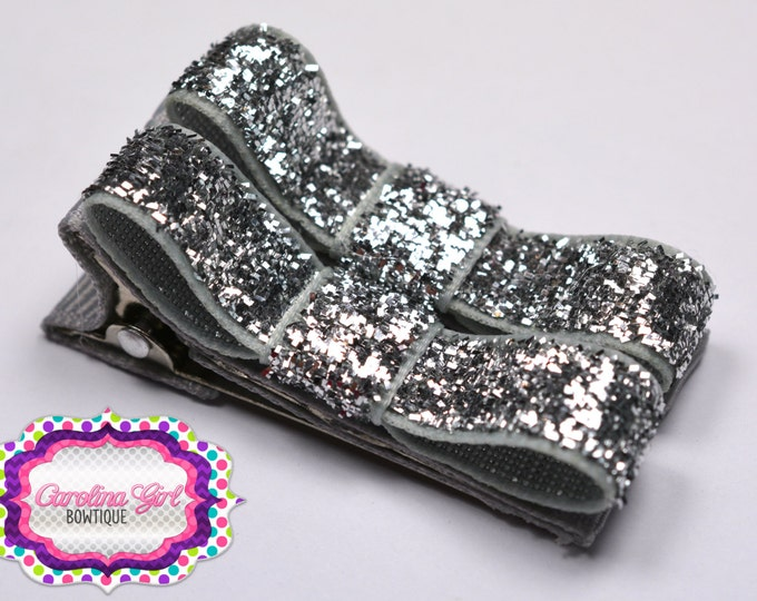 Silver Glitter Hair Clips Basic Tuxedo Clips Alligator Non Slip Barrettes for Babies Toddler Girl Set of 2