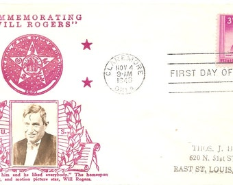 1948 First Day Issue Will Rogers I never met a man I didn't Like