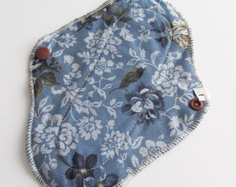 Cloth Mama Pad Pantyliner 8 inch -Blue Demin Look with Flowers FREE Shipping