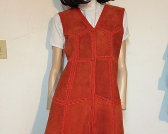 Leather Dress Crochet Patchwork Hippie Shaft Size 10 Vintage 70s