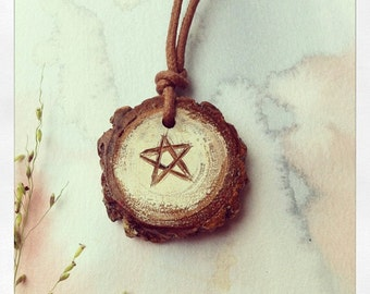Full Moon Pentacle Casurina Charm Pendant with hand painted and carved detail
