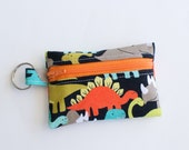 Ear Bud Case, Coin Purse, Small Zippered Pouch Dino-mites