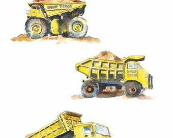 Cute Yellow Dump Trucks Watercolor Clip Art -  kids clip art - EPS, PNG and JPG