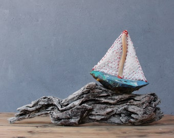 Stormy Seas Driftwood Boat Nautical Home Decor