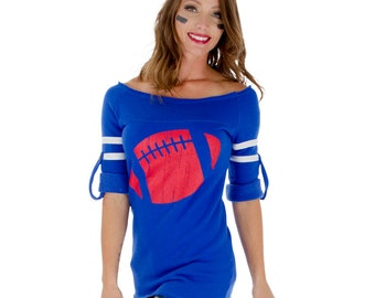 Royal Blue Off the Shoulder Sweatshirt / Super Soft Loungewear / Football Season/ Choose your Football Color/ Sizes S-XL / Made in the USA