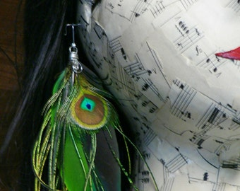 Peacock eye  feather earrings, naturally colored feathers, no dyes and cruelty free collection
