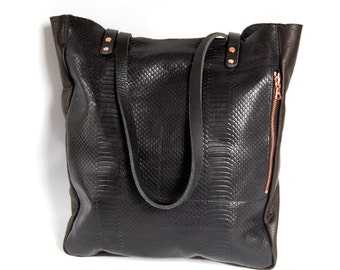 Large Camino leather tote bag in black // copper - macbook pro bag
