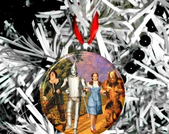 "Wizard of Oz Dorothy Tinman Scarecrow Lion 2.25"" Christmas Tree Ornament"