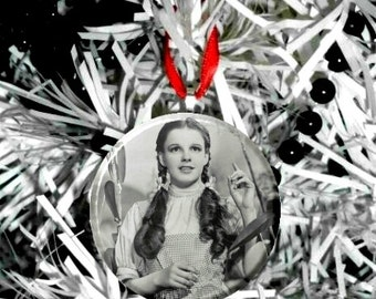 "Wizard of Oz Dorothy Black & White -D-  2.25"" Christmas Tree Ornament"