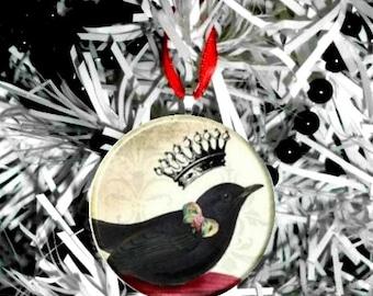 Crown Crow Black Bird  Christmas Tree Ornament
