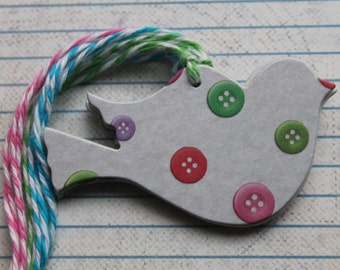 11 Handmade Bird Tags with button design patterned paper over chipboard