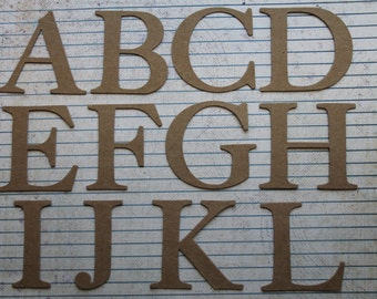 2 inch tall SERIF uppercase chipboard alphabet die cuts 26 letters