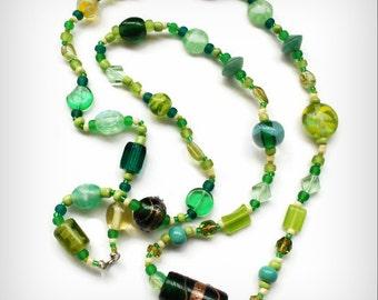 Celery and Greens Yellow and Green Necklace Salad Style Lampwork, Wedding Cake Beads Peridot Art Careers Sarahbushka
