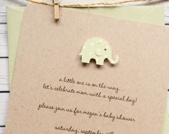 Gender Neutral Kraft Elephant Baby Shower Invitation