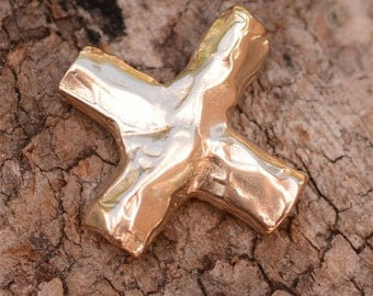 Golden Bronze Textured Cross Bead