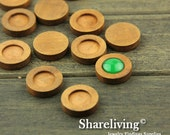 10pcs 12mm Round Wooden Wooden Cameo Setting / Tray