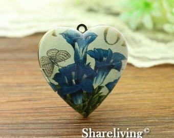 1pcs Vintage Flower Heart Locket Necklace, Antique Bronze Brass Locket, Photo Heart Locket Charm Pendant - HLK902D