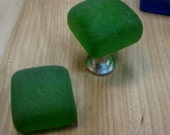 deep green seaglass inspired vintage glass drawer pull knob, Tumbled glass