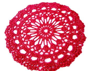 """Small Size - Burgundy Colored Hand Crocheted Thread Doily 6-1/2"""""""