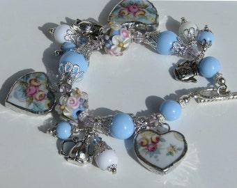 Sale Priced - Broken China Bracelet - Vintage Charm Bracelet - Tea Pot Broken China Charm Bracelet  Handmade Bracelet Lampwork Jewelry