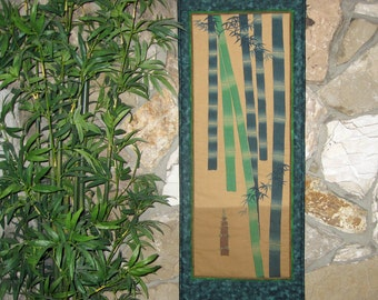 Quilted Wall Hanging Bamboo Grove Japanese Asian Design Scroll Size
