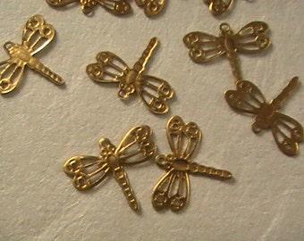 Pendant Lot,Dragonfly Pendants,Brass Charms,Diy Jewelry Supplies,Brass Pendants,Craft Supplies,Brass Dragonfly Pendants, Brass Jewelry Parts
