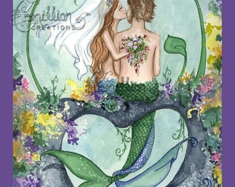 Wedding Bridal Shower MERMAID Note Cards from Original Watercolors by Camille Grimshaw