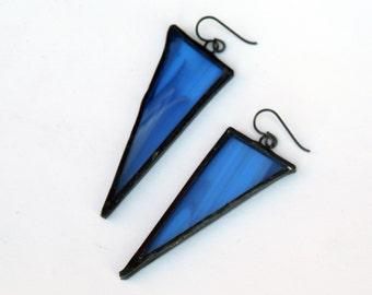 EARRINGS - Triangle Earrings - Stained Glass Earrings - Blue