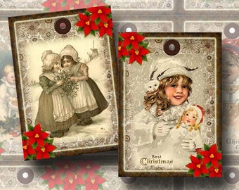 Magical Christmas Holiday Vintage Art Hang/Gift Tags -Winter Snow Children- Printable Collage Sheet JPG Digital File- BuY OnE GeT OnE FREE